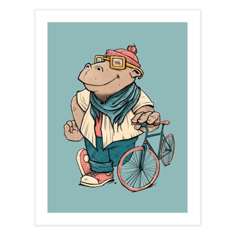 Hipster Hippo Home Fine Art Print by blancajp's Artist Shop