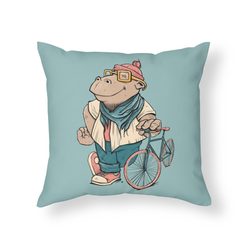 Hipster Hippo Home Throw Pillow by blancajp's Artist Shop