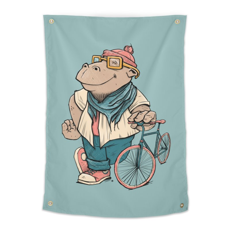 Hipster Hippo Home Tapestry by blancajp's Artist Shop