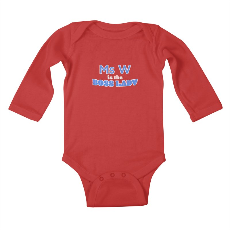 Ms W is the Boss Lady Kids Baby Longsleeve Bodysuit by Cliff Blank + DOGMA Portraits