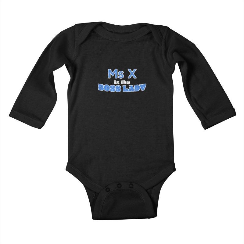 Ms X is the Boss Lady Kids Baby Longsleeve Bodysuit by Cliff Blank + DOGMA Portraits