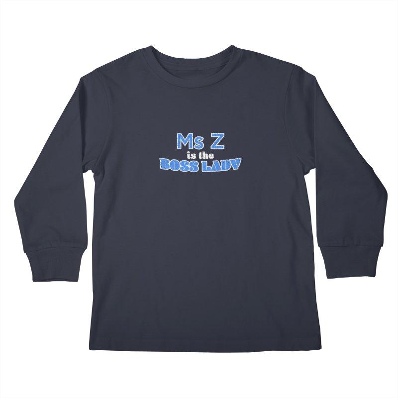 Ms Z is the Boss Lady Kids Longsleeve T-Shirt by Cliff Blank + DOGMA Portraits
