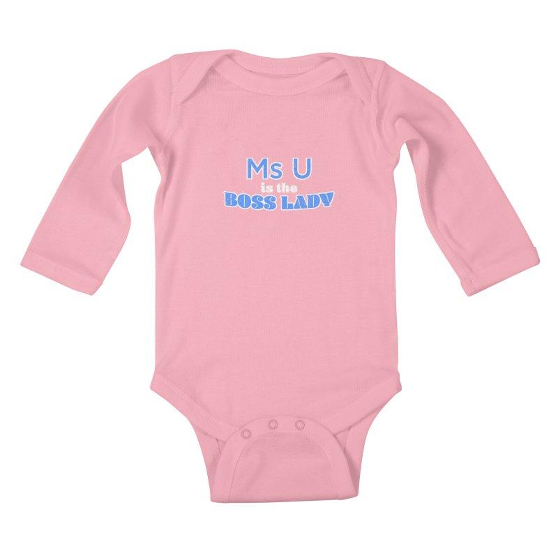 Ms U is the Boss Lady Kids Baby Longsleeve Bodysuit by Cliff Blank + DOGMA Portraits