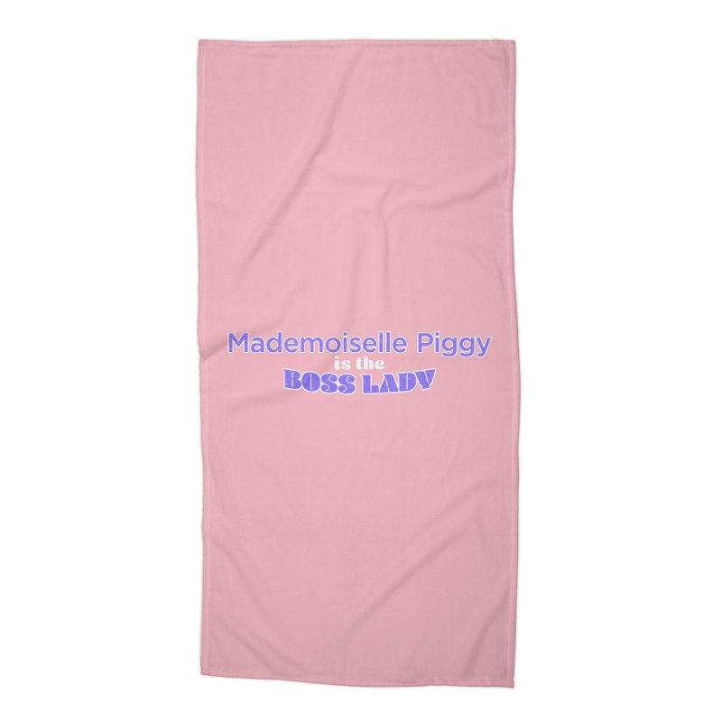 Mademoiselle Piggy is the Boss Lady Accessories Beach Towel by Cliff Blank + DOGMA Portraits