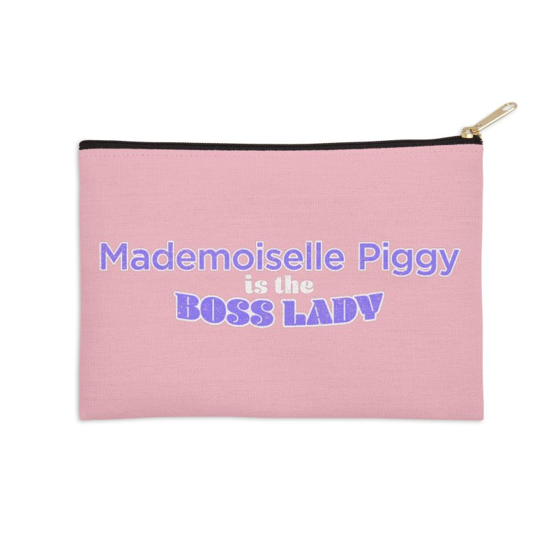 Mademoiselle Piggy is the Boss Lady Accessories Zip Pouch by Cliff Blank + DOGMA Portraits