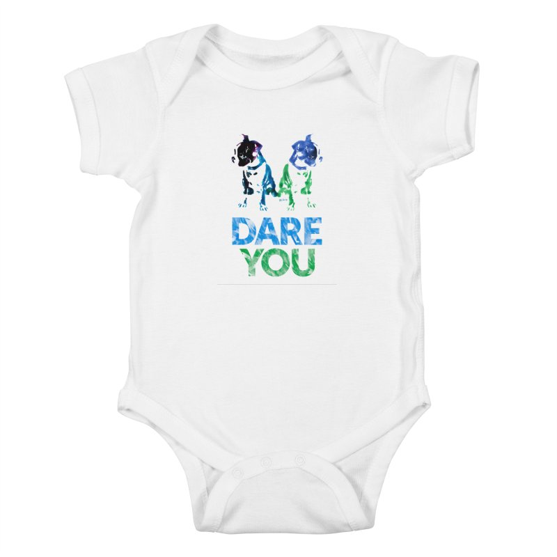 Double Dog Dare You Kids Baby Bodysuit by Cliff Blank + DOGMA Portraits