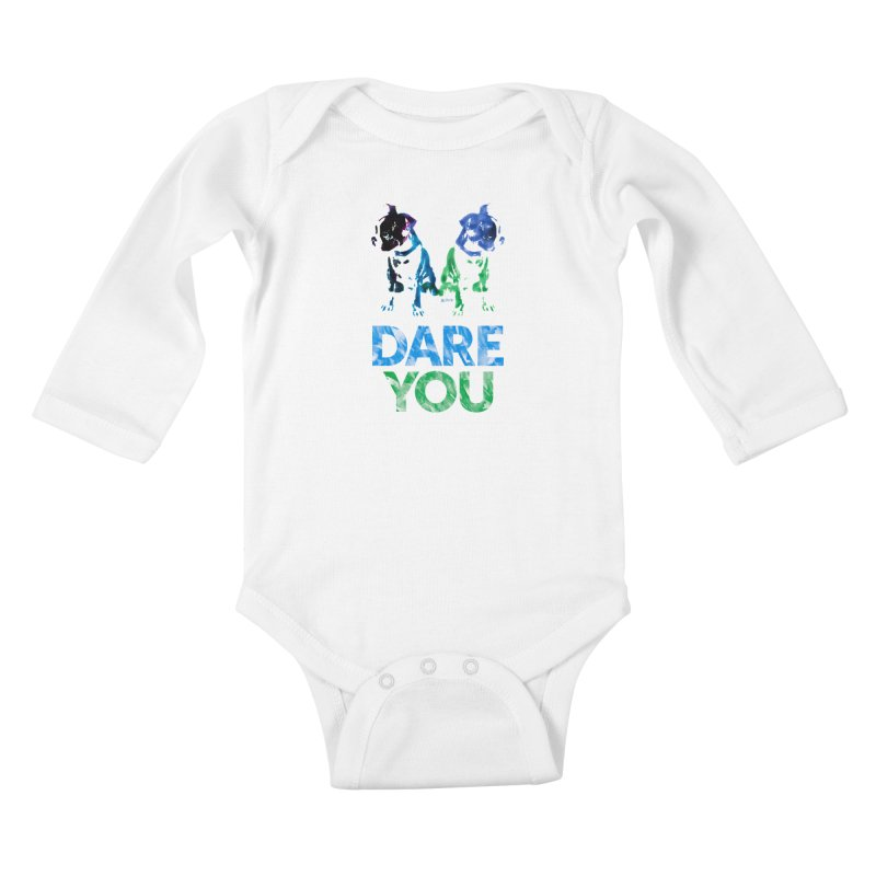 Double Dog Dare You Kids Baby Longsleeve Bodysuit by Cliff Blank + DOGMA Portraits