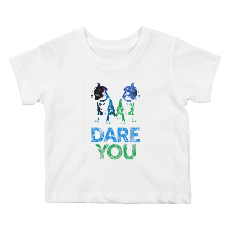 Double Dog Dare You Kids Baby T-Shirt by Cliff Blank + DOGMA Portraits
