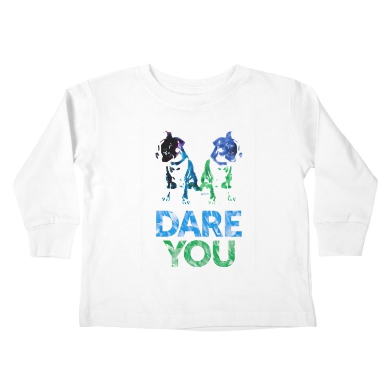 Double Dog Dare You Kids Toddler Longsleeve T-Shirt by Cliff Blank + DOGMA Portraits