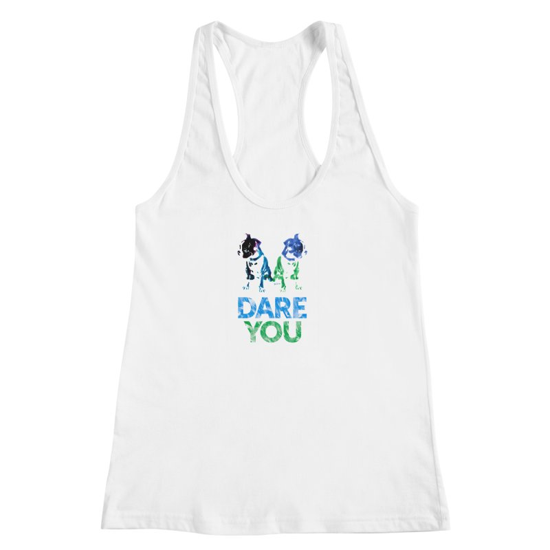 Double Dog Dare You Women's Racerback Tank by Cliff Blank + DOGMA Portraits