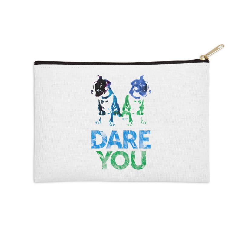 Double Dog Dare You Accessories Zip Pouch by Cliff Blank + DOGMA Portraits