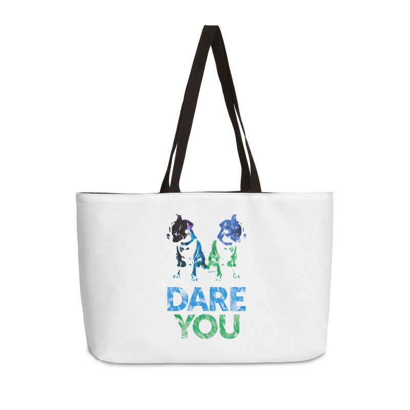 Double Dog Dare You Accessories Weekender Bag Bag by Cliff Blank + DOGMA Portraits