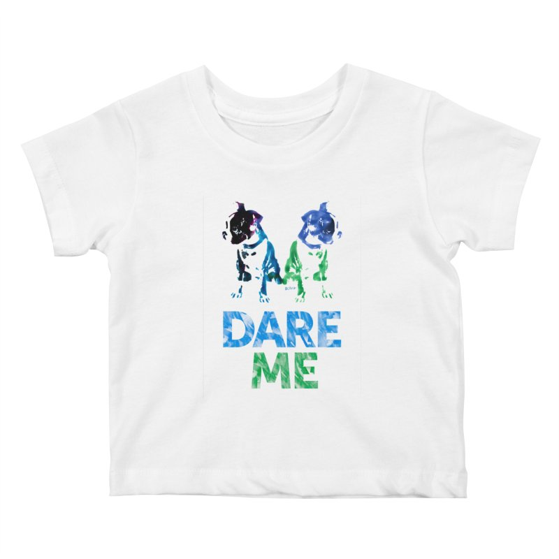 Double Dog Dare Me Kids Baby T-Shirt by Cliff Blank + DOGMA Portraits