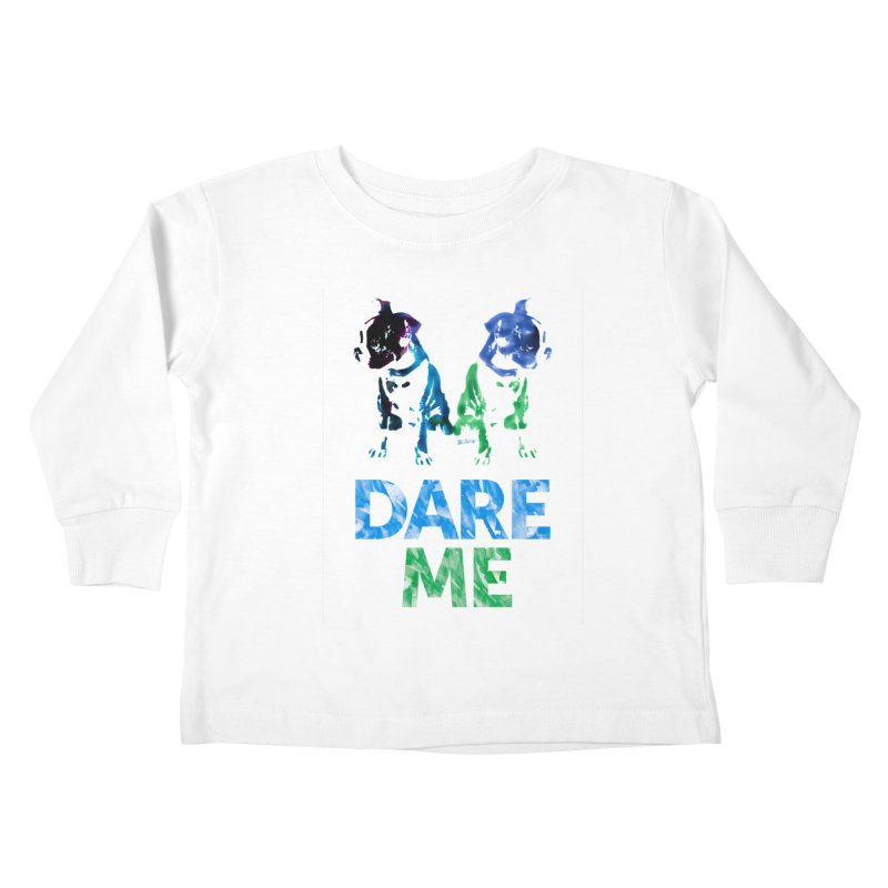 Double Dog Dare Me Kids Toddler Longsleeve T-Shirt by Cliff Blank + DOGMA Portraits