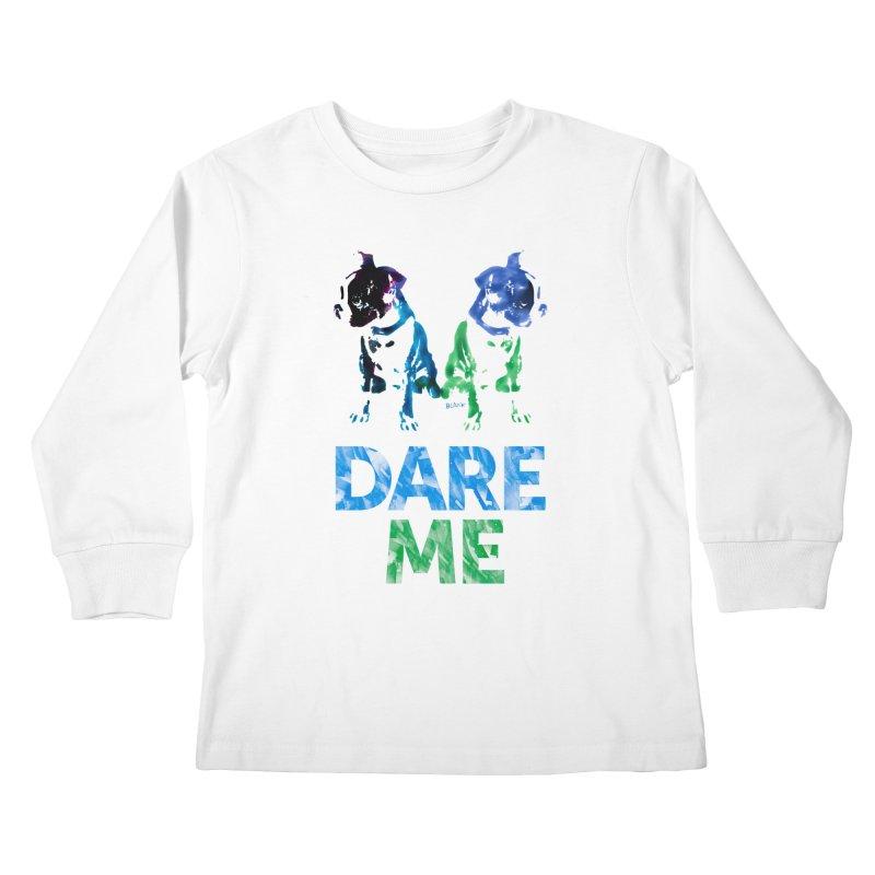 Double Dog Dare Me Kids Longsleeve T-Shirt by Cliff Blank + DOGMA Portraits