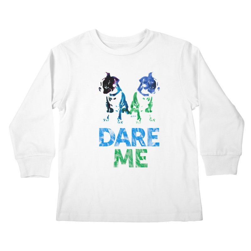 Double Dog Dare Me Kids Longsleeve T-Shirt by Cliff Blank + DOGMA Portraits