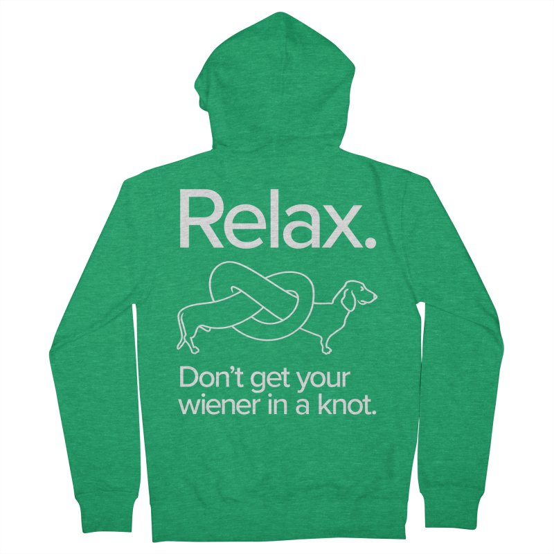 Relax. Don't get your wiener in a knot. (light design) Men's French Terry Zip-Up Hoody by Cliff Blank + DOGMA Portraits