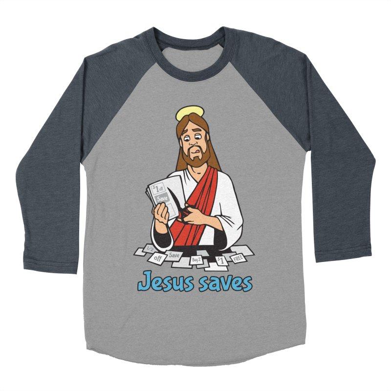 Jesus saves Women's Baseball Triblend Longsleeve T-Shirt by Blasto's Artist Shop