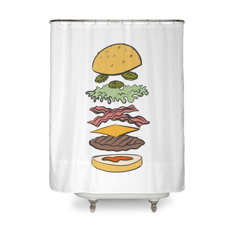 Exploded Bacon Chee Home Shower Curtain by Blasto's Artist Shop