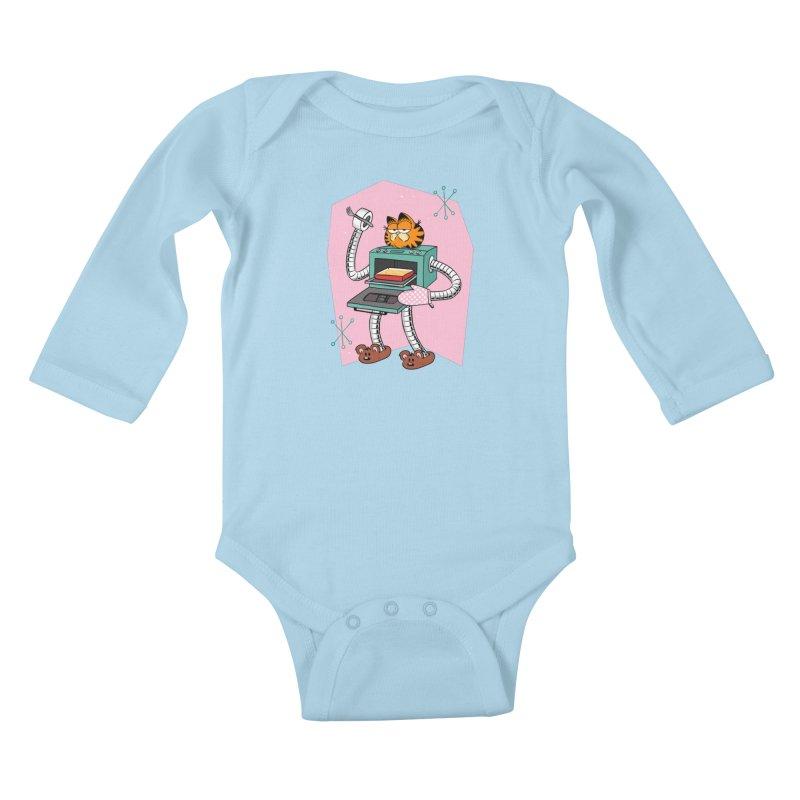 Garfield LOD (Lasagna On Demand) Kids Baby Longsleeve Bodysuit by Blasto's Artist Shop