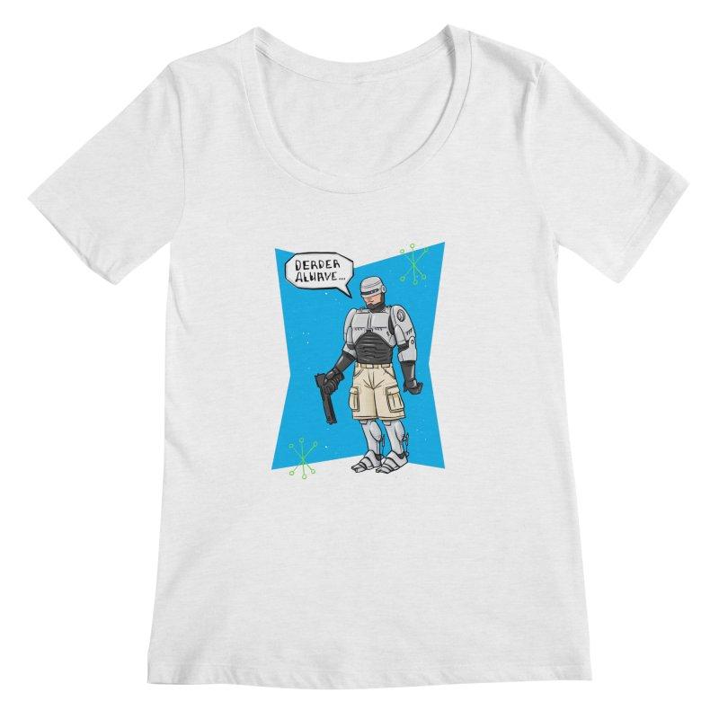 RoboClerp (Ermagerd robots wearing cargo shorts) Women's Regular Scoop Neck by Blasto's Artist Shop