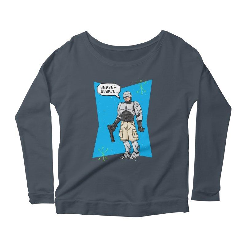 RoboClerp (Ermagerd robots wearing cargo shorts) Women's Scoop Neck Longsleeve T-Shirt by Blasto's Artist Shop