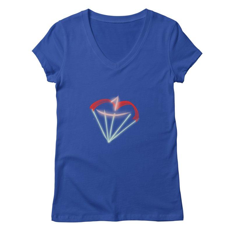 1Kiss Logo Women's V-Neck by blinkkittylove's Artist Shop