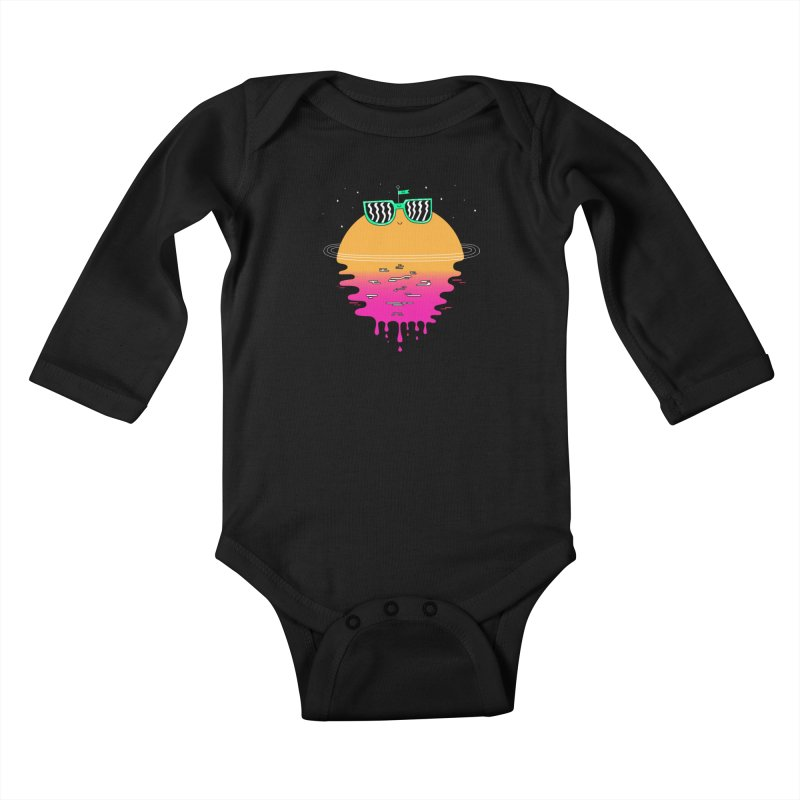Happy Sunset Kids Baby Longsleeve Bodysuit by Porky Roebuck
