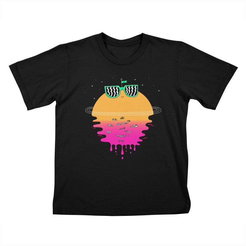 Happy Sunset Kids T-shirt by Porky Roebuck