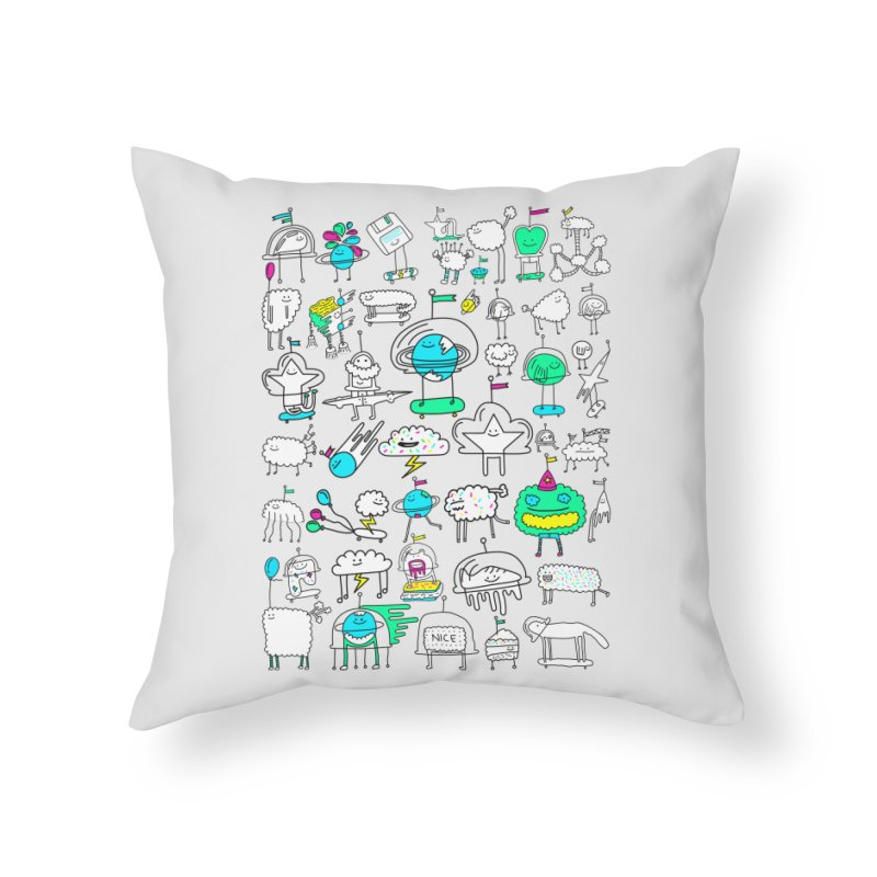 Happy Creatures Home Throw Pillow by Porky Roebuck