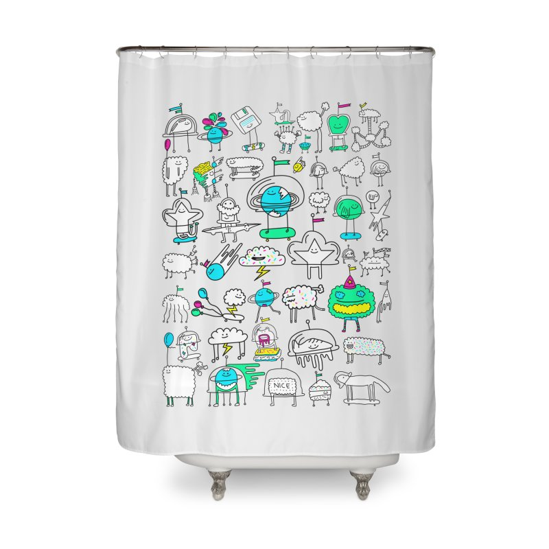 Happy Creatures Home Shower Curtain by Porky Roebuck