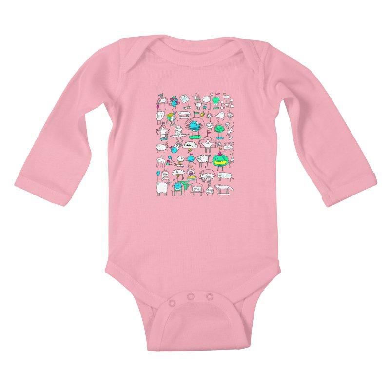 Happy Creatures Kids Baby Longsleeve Bodysuit by Porky Roebuck