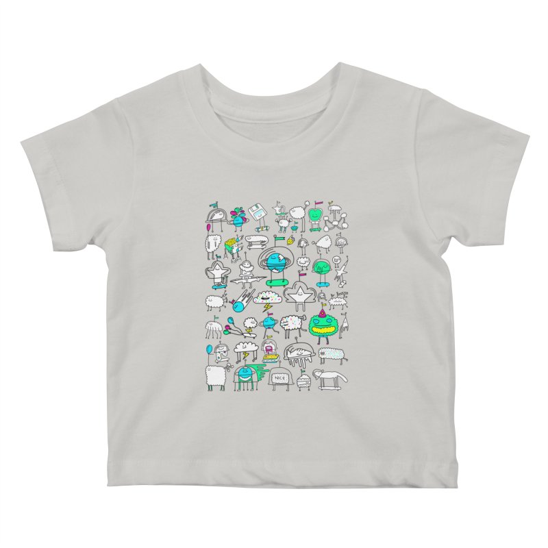Happy Creatures Kids Baby T-Shirt by Porky Roebuck