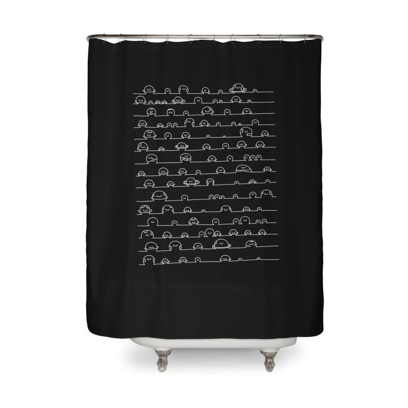 Happy Solar System Home Shower Curtain by Porky Roebuck