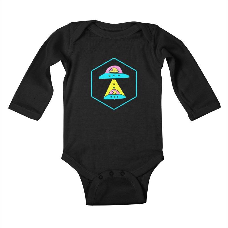 UFO Time Kids Baby Longsleeve Bodysuit by Porky Roebuck