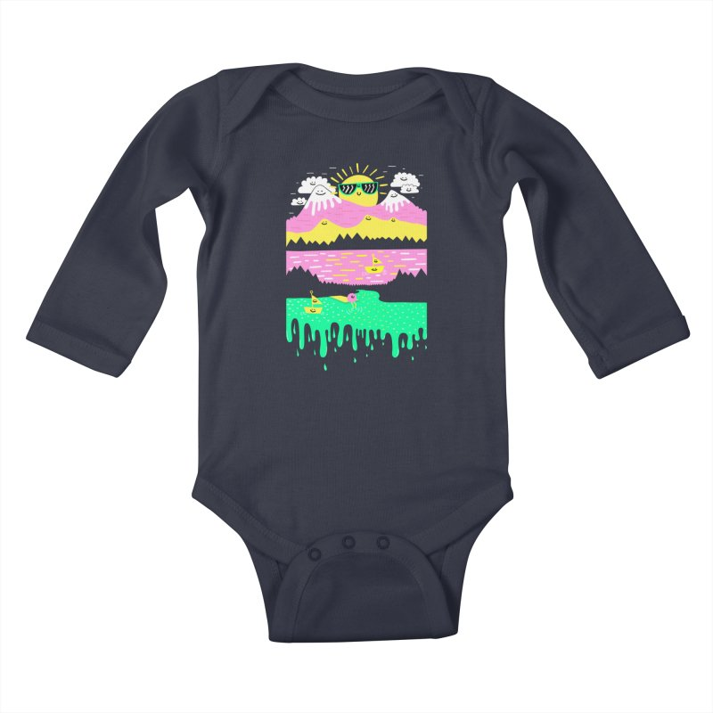 Happy Lake Kids Baby Longsleeve Bodysuit by Porky Roebuck