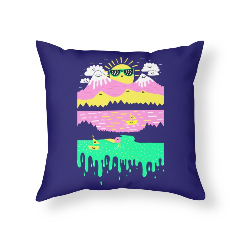 Happy Lake Home Throw Pillow by Porky Roebuck