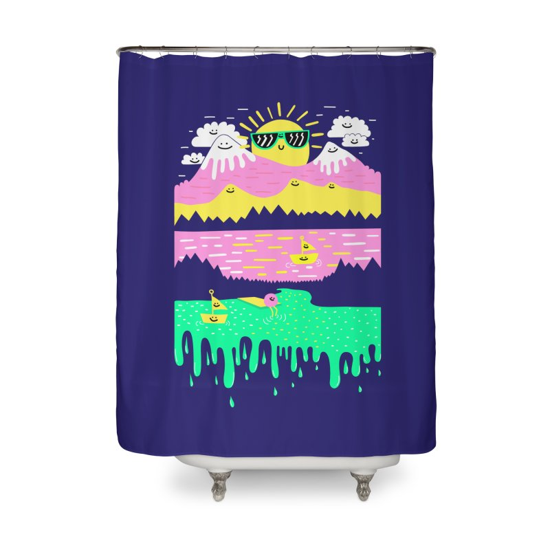 Happy Lake Home Shower Curtain by Porky Roebuck