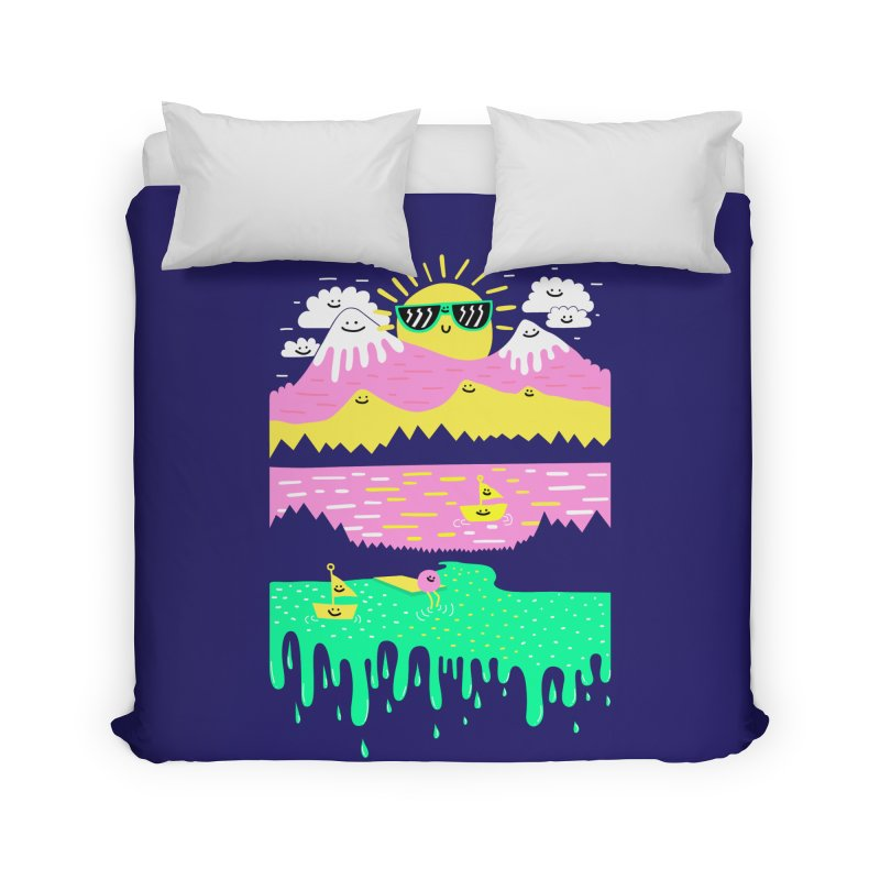 Happy Lake Home Duvet by Porky Roebuck