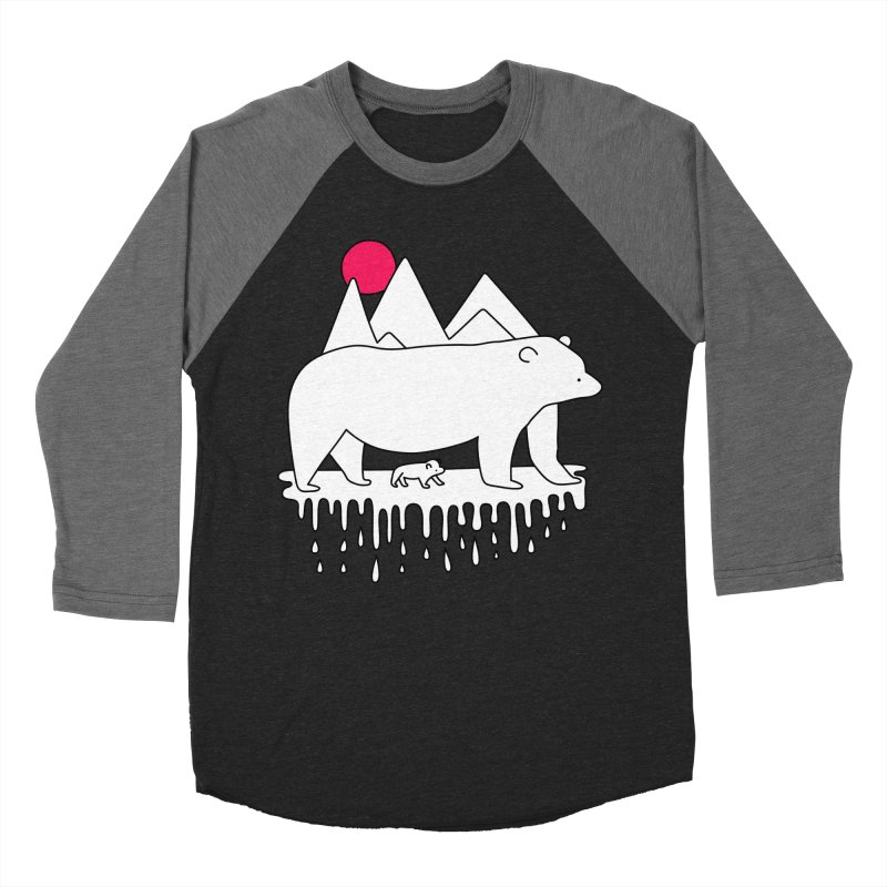 Polar Bear Family Men's Baseball Triblend T-Shirt by Porky Roebuck