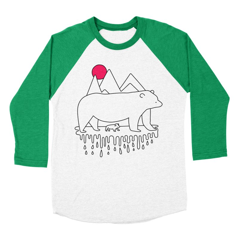 Polar Bear Family Men's Baseball Triblend T-Shirt by Porky Roebuck
