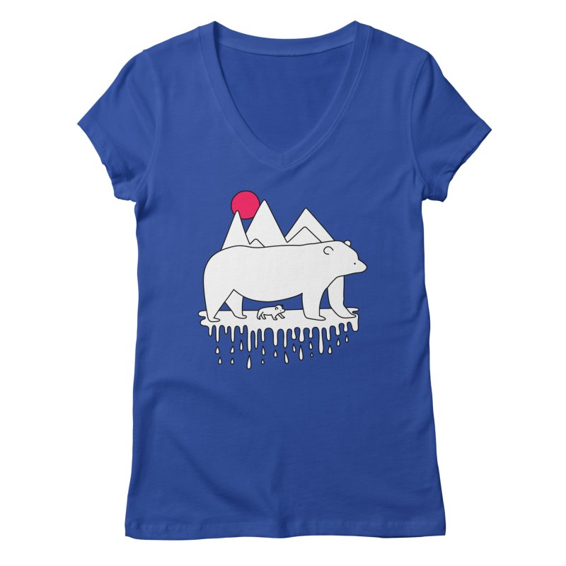 Polar Bear Family Women's V-Neck by Porky Roebuck