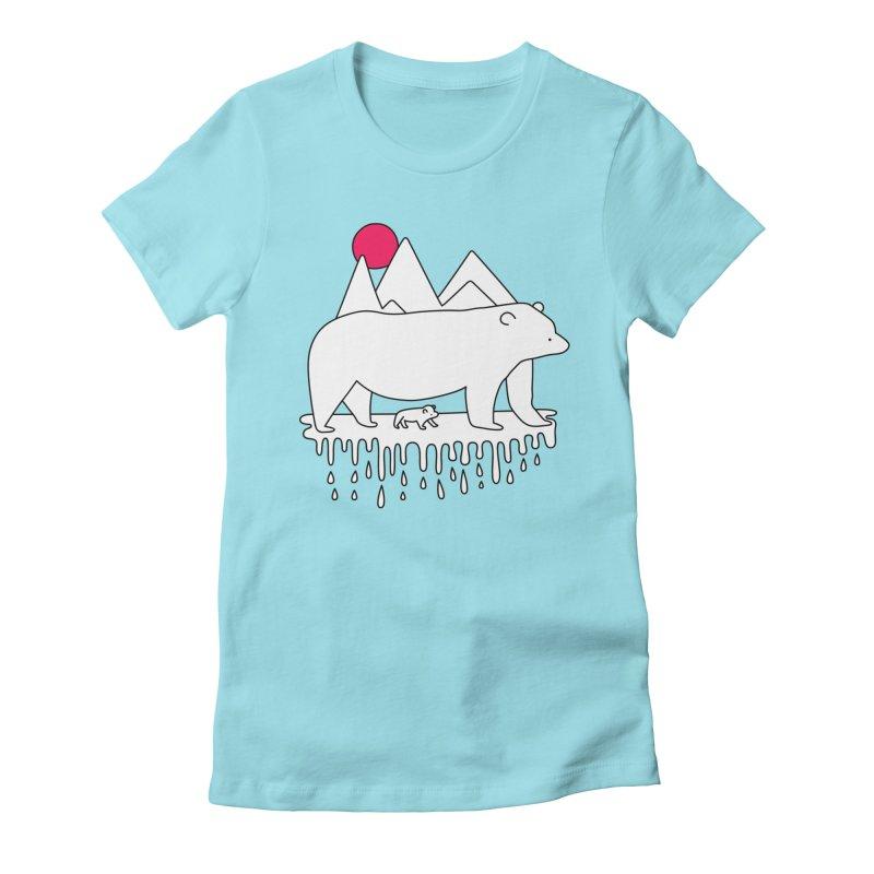 Polar Bear Family Women's Fitted T-Shirt by Porky Roebuck