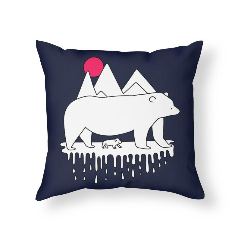 Polar Bear Family Home Throw Pillow by Porky Roebuck