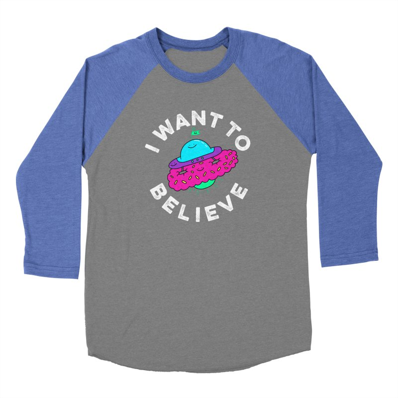 I want to believe Women's Baseball Triblend T-Shirt by Porky Roebuck