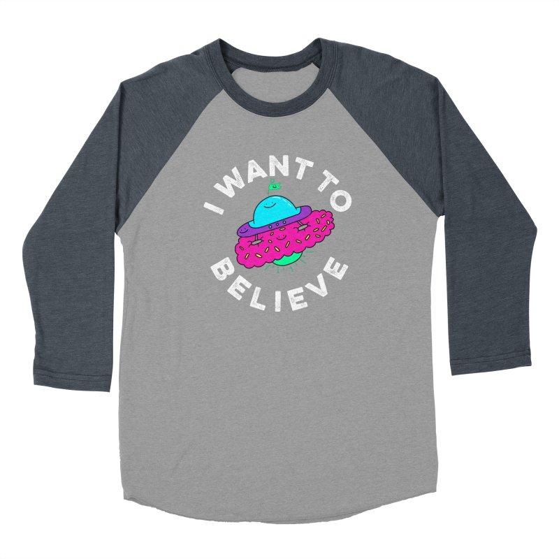 I want to believe Women's Baseball Triblend T-Shirt by Porky Roebuck