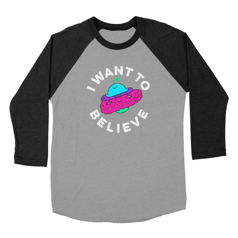I want to believe Men's Baseball Triblend T-Shirt by Porky Roebuck
