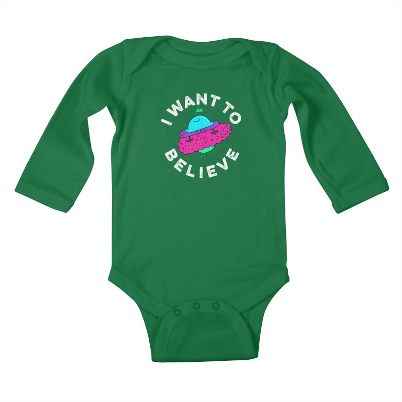 I want to believe Kids Baby Longsleeve Bodysuit by Porky Roebuck