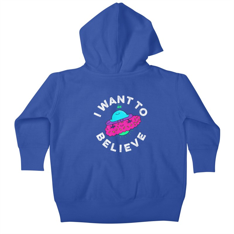 I want to believe Kids Baby Zip-Up Hoody by Porky Roebuck