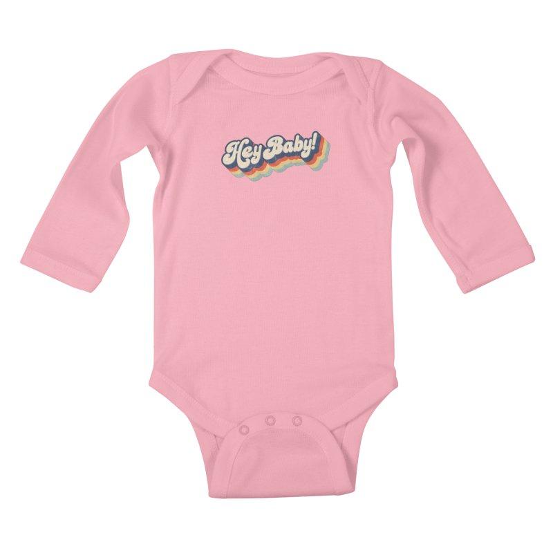 Hey Baby! Kids Baby Longsleeve Bodysuit by Bloody Murder's Artist Shop